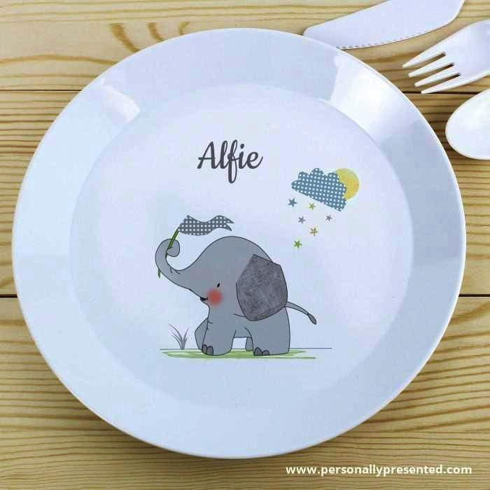 Personalised Hessian Elephant Plastic Plate - Personalised Gift From Personally Presented