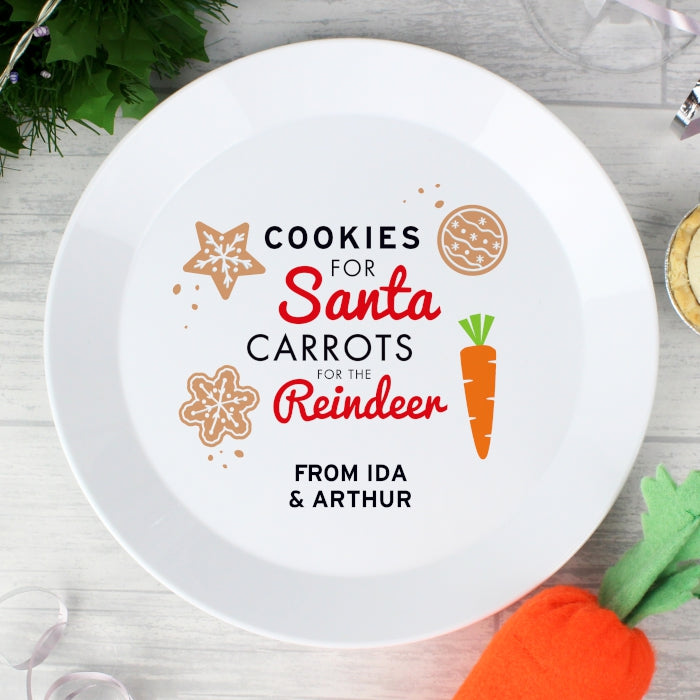 Personalised Cookies for Santa Christmas Eve Plastic Plate - Personalised Gift From Personally Presented