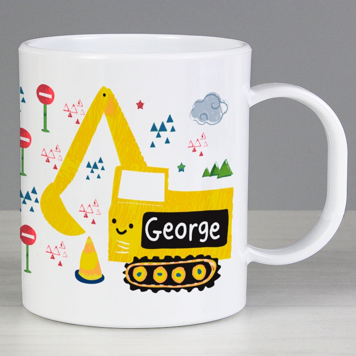 Personalised Digger Plastic Mug - Personalised Gift From Personally Presented