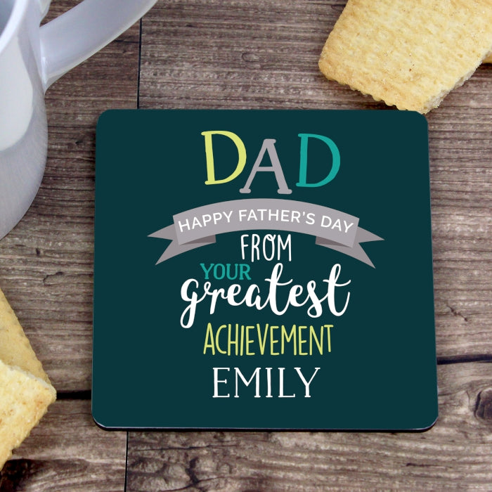 Personalised Dad's Greatest Achievement Coaster - Personalised Gift From Personally Presented