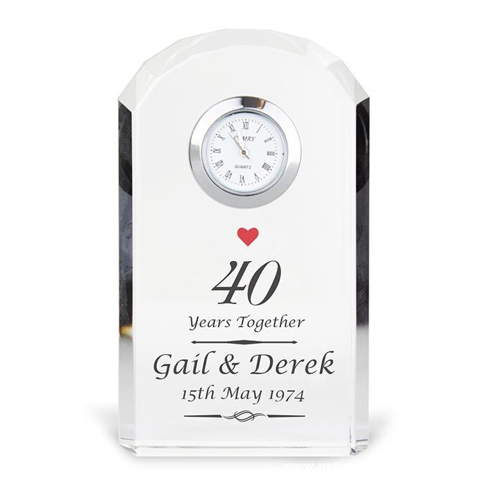 Personalised Ruby Anniversary Crystal Clock - Personalised Gift From Personally Presented