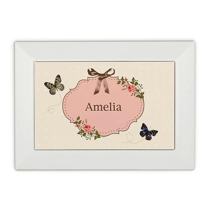Personalised Delicate Butterfly White Jewellery Box - Personalised Gift From Personally Presented