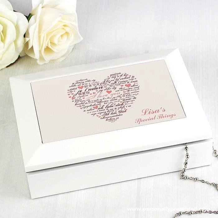 Personalised I Love You White Jewellery Box - Personalised Gift From Personally Presented