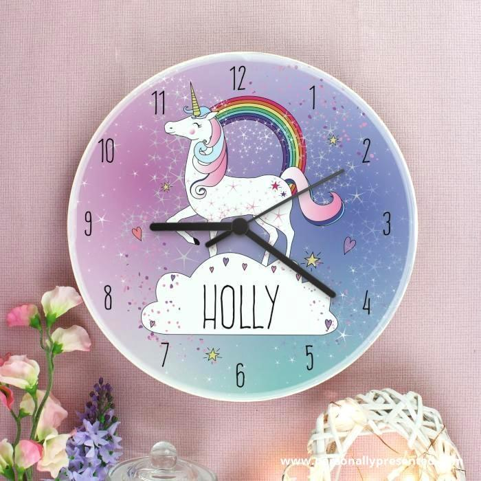 Personalised Unicorn Wooden Clock - Personalised Gift From Personally Presented