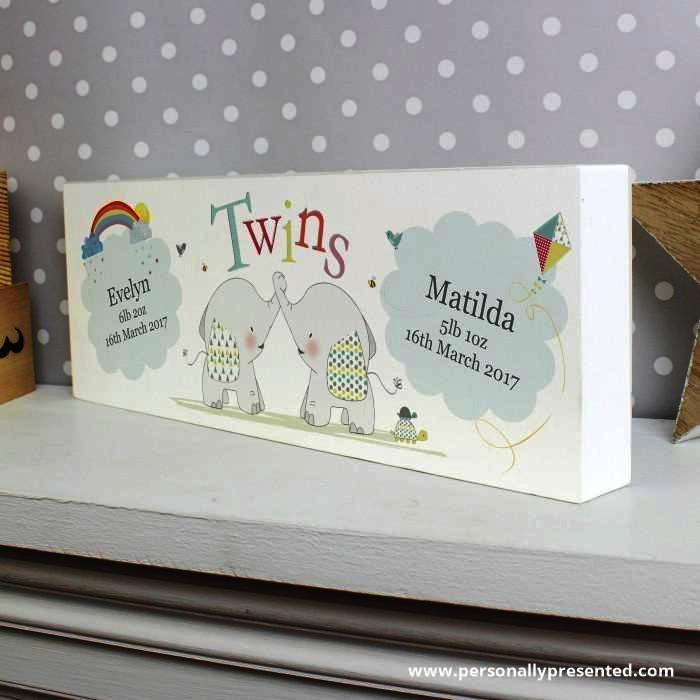 Personalised Hessian Elephant Twins Mantel Block - Personalised Gift From Personally Presented