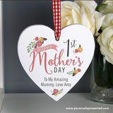 Personalised Floral Bouquet 1st Mothers Day Wooden Heart Decoration - Personalised Gift From Personally Presented