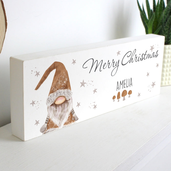 Personalised Scandinavian Christmas Block Gnome Wooden  Sign