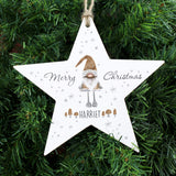 Personalised Scandinavian Christmas Gnome Wooden Star Decoration - Personalised Gift From Personally Presented