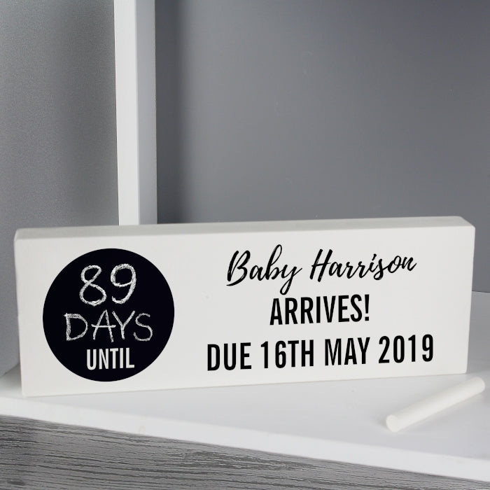 Personalised Classic Chalk Countdown Wooden Block Sign - Personalised Gift From Personally Presented