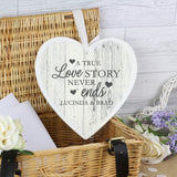 Personalised Love Story 22cm Large Wooden Heart Decoration - Personalised Gift From Personally Presented