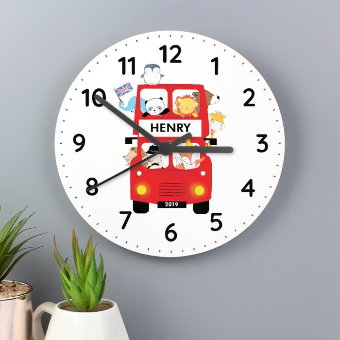 Personalised London Animal Bus Wooden Clock - Personalised Gift From Personally Presented
