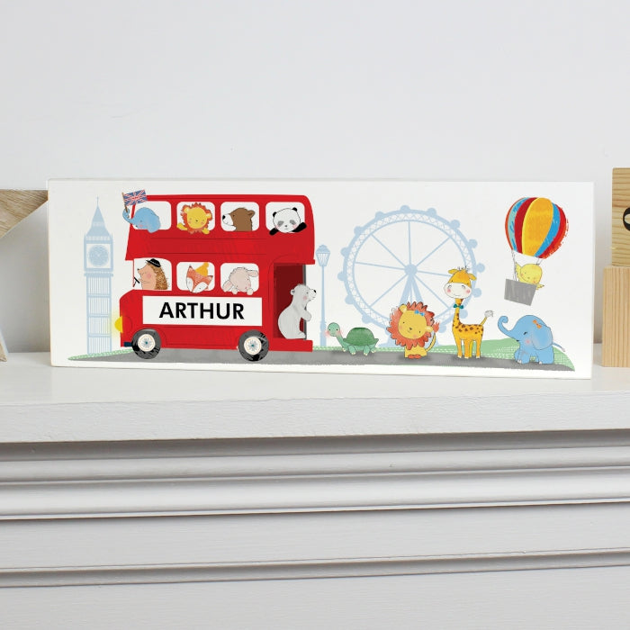 Personalised London Animal Bus Wooden Block Sign - Personalised Gift From Personally Presented
