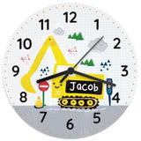 Personalised Digger Wooden Clock - Personalised Gift From Personally Presented