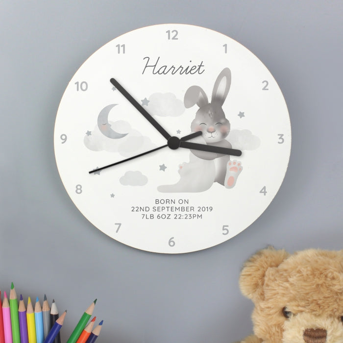 Personalised Baby Bunny White Wooden Clock - Personalised Gift From Personally Presented