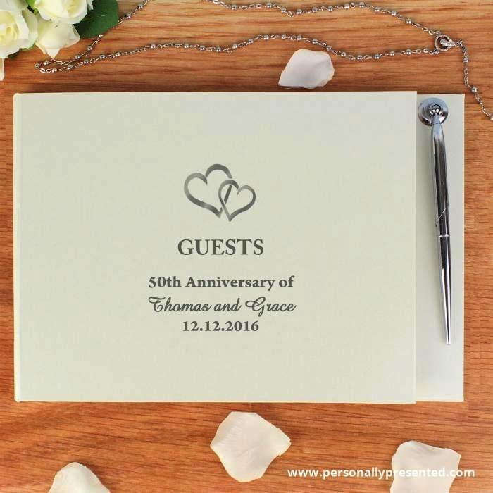 Personalised Hardback Wedding Guest Book & Pen Hearts Design - Personalised Gift From Personally Presented