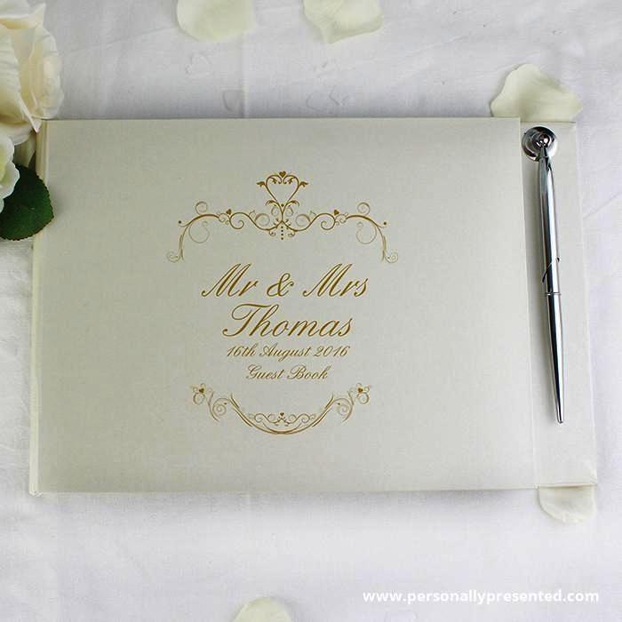 Personalised Gold Ornate Swirl Guest Book & Pen - Personalised Gift From Personally Presented