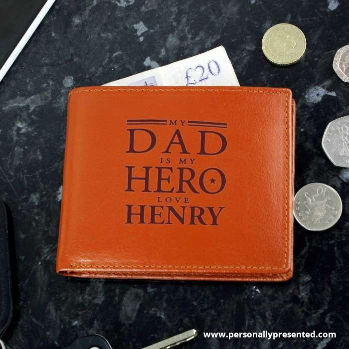 Personalised My Dad is My Hero Tan Leather Wallet - Personalised Gift From Personally Presented