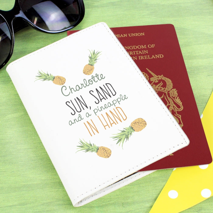 Personalised Pineapple Cream Passport Holder - Personalised Gift From Personally Presented