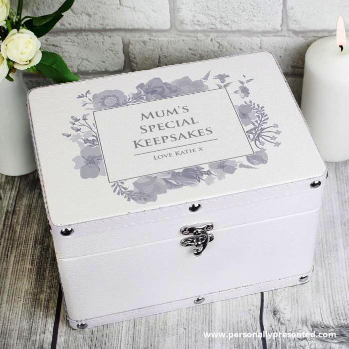Personalised Soft Watercolour White Leatherette Keepsake Box - Personalised Gift From Personally Presented