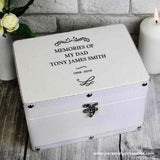 Personalised Antique Scroll White Leatherette Keepsake Box - Personalised Gift From Personally Presented