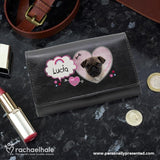 Personalised Rachael Hale Doodle Pug Black Purse - Personalised Gift From Personally Presented