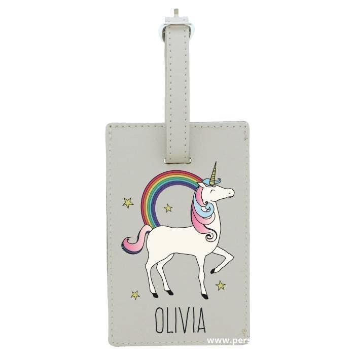 Personalised Unicorn Cream Luggage Tag - Personalised Gift From Personally Presented