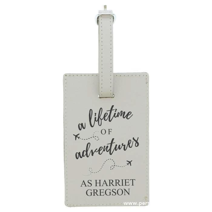 Personalised 'Lifetime of Adventures' Cream Luggage Tag - Personalised Gift From Personally Presented