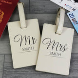 Personalised Mr & Mrs Classic Cream Luggage Tags - Personalised Gift From Personally Presented