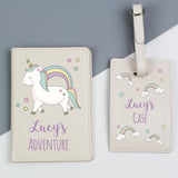 Personalised Baby Unicorn Cream Passport Holder & Luggage Tag Set - Personalised Gift From Personally Presented
