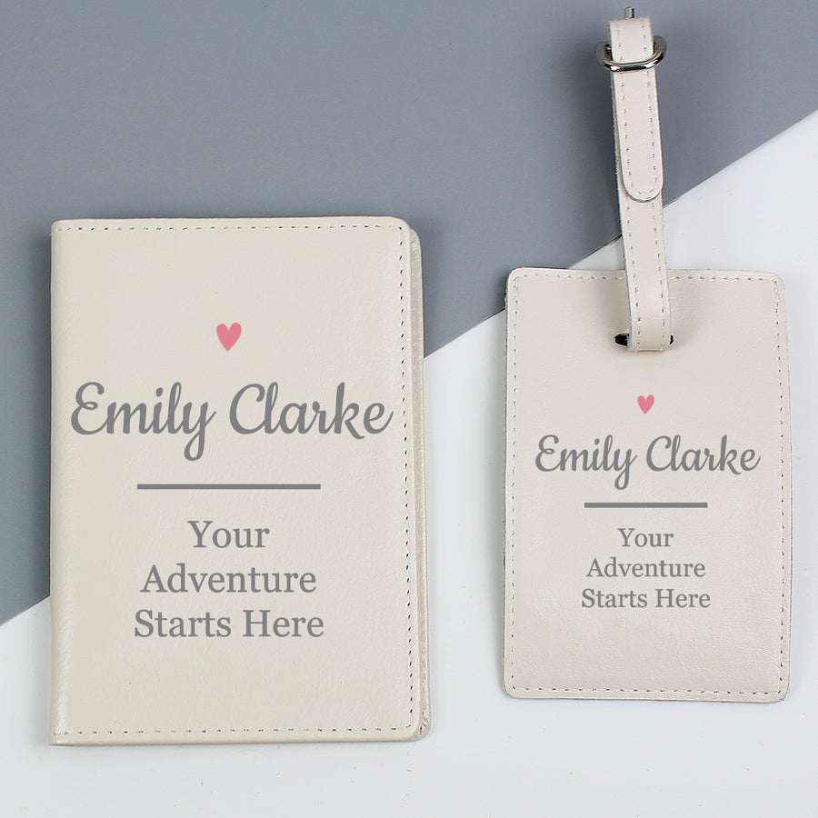 Personalised Pink Heart Cream Passport Holder & Luggage Tag Set