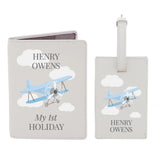 Personalised Blue Plane Passport Holder & Luggage Tag Set - Personalised Gift From Personally Presented
