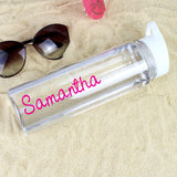 Personalised Pink Text Name Island Water Bottle - Personalised Gift From Personally Presented