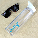 Personalised Blue Text Name Island Water Bottle - Personalised Gift From Personally Presented