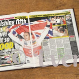 Personalised Formula One Newspaper Book - Black Leather Cover Embossed - Personalised Gift From Personally Presented