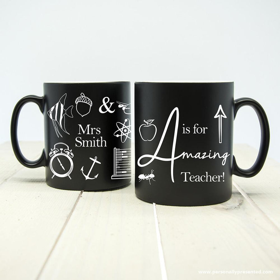 Personalised A is for Amazing Teacher Matte Coloured Mug - Personalised Gift From Personally Presented