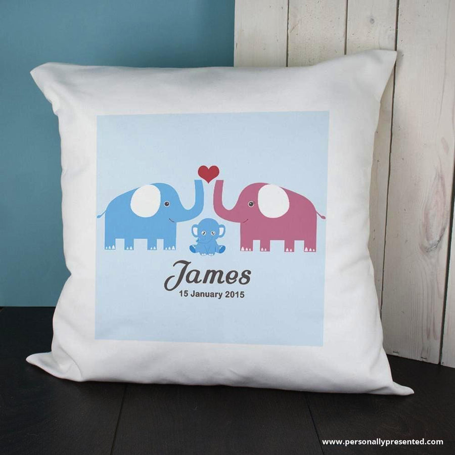 Personalised Baby Cushion Cover- Elephants (Blue) - Personalised Gift From Personally Presented