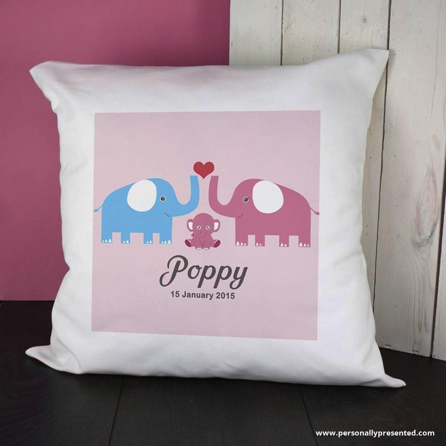 Personalised Baby Cushion Cover - Elephants (Pink) - Personalised Gift From Personally Presented