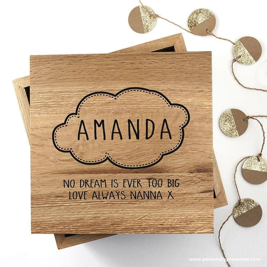 Baby Name in Cloud Oak Photo Keepsake Box - Personalised Gift From Personally Presented