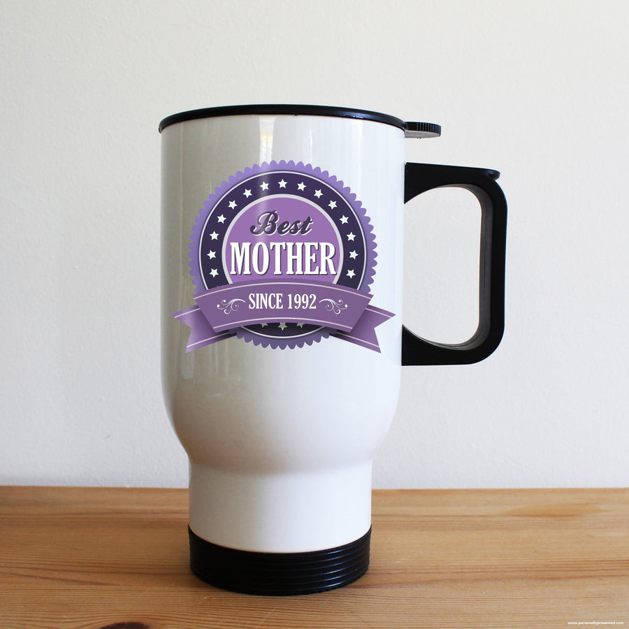 Personalised Best Mother Since Travel Mug - Personalised Gift From Personally Presented