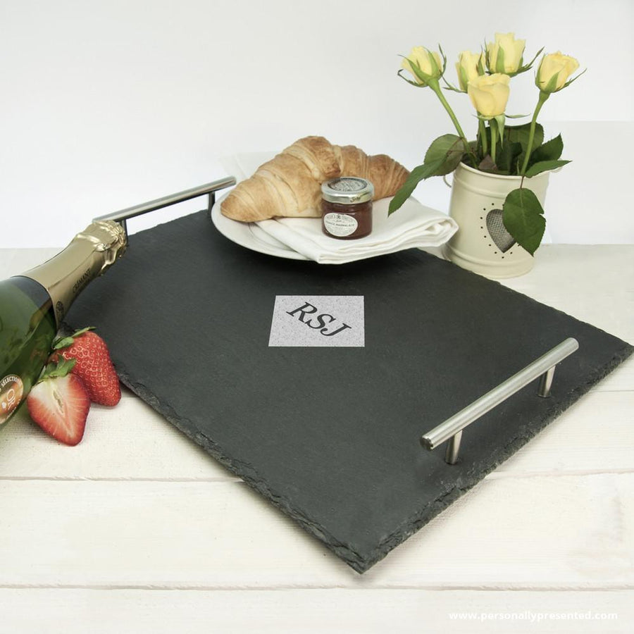 Breakfast In Bed Slate Tray - Personalised Gift From Personally Presented