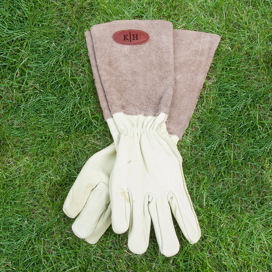 Personalised Brown Leather Gardening Gloves - Personalised Gift From Personally Presented