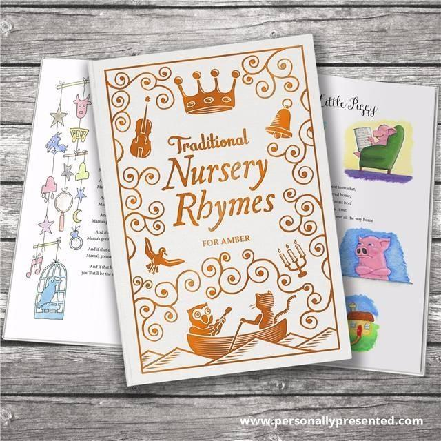 Personalised Traditional Nursery Rhymes Embossed Classic Hardback - Personalised Gift From Personally Presented