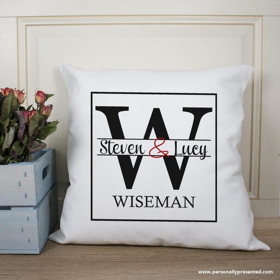 Personalised Couple Monogram Cushion Cover - Personalised Gift From Personally Presented