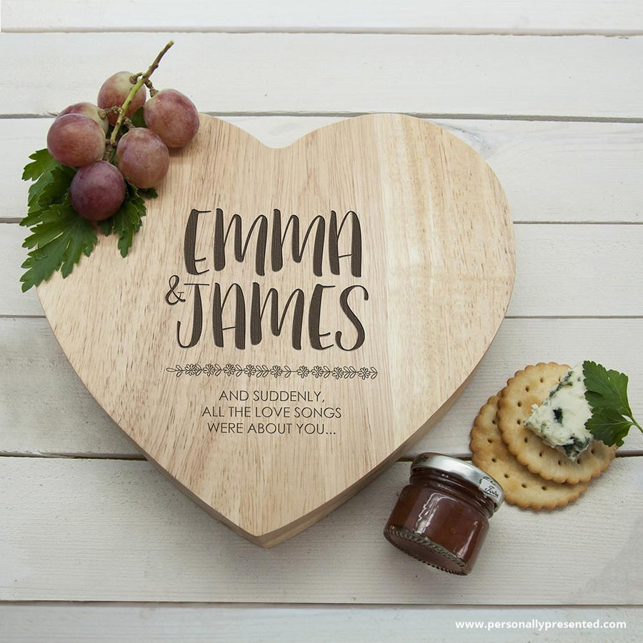 Engraved All About You Heart Cheese Board - Personalised Gift From Personally Presented