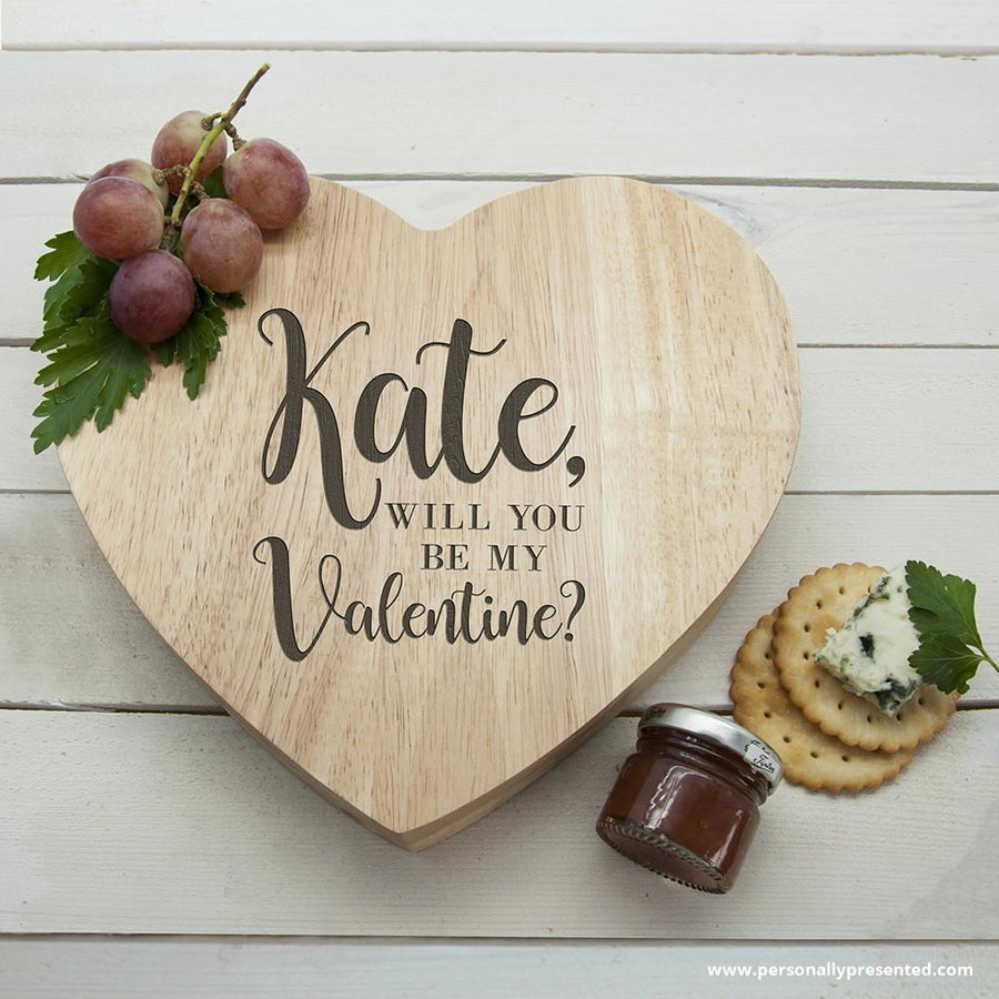 Engraved Be My Valentine Heart Cheese Board - Personalised Gift From Personally Presented