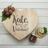 Personalised Engraved Be My Valentine Heart Cheese Board - Personalised Gift From Personally Presented