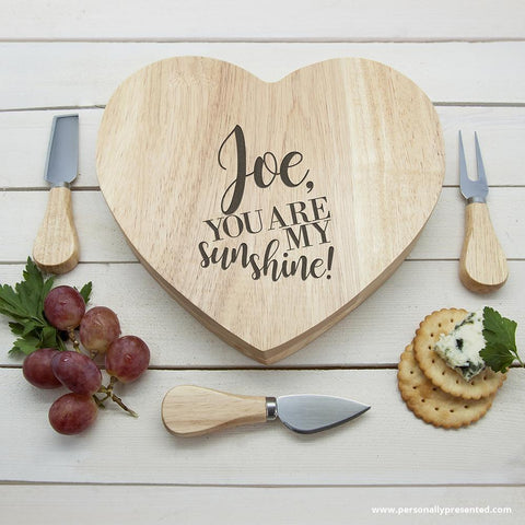 Engraved You Are My Sunshine Oak Heart Cheese Board