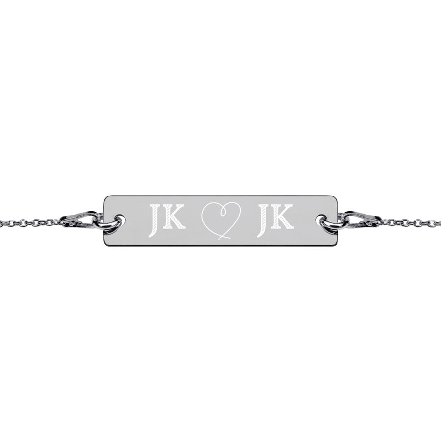 Personalised Heart Line Engraved Silver Bar Chain Bracelet