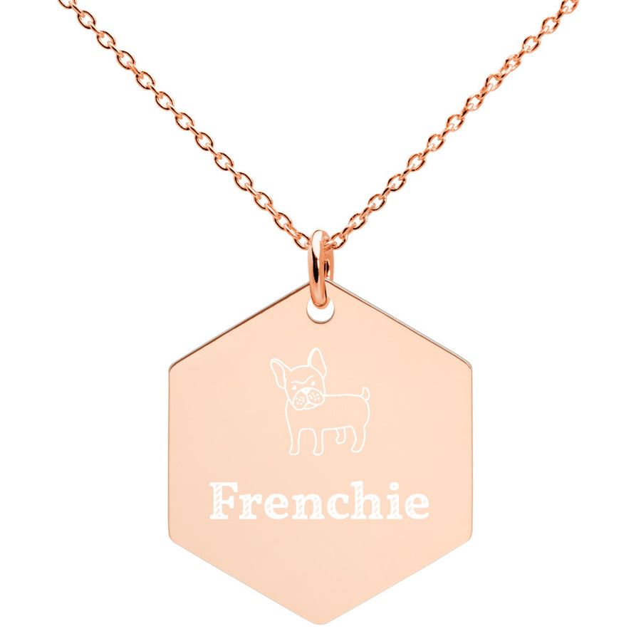 Personalised French Bulldog Engraved Silver Hexagon Necklace