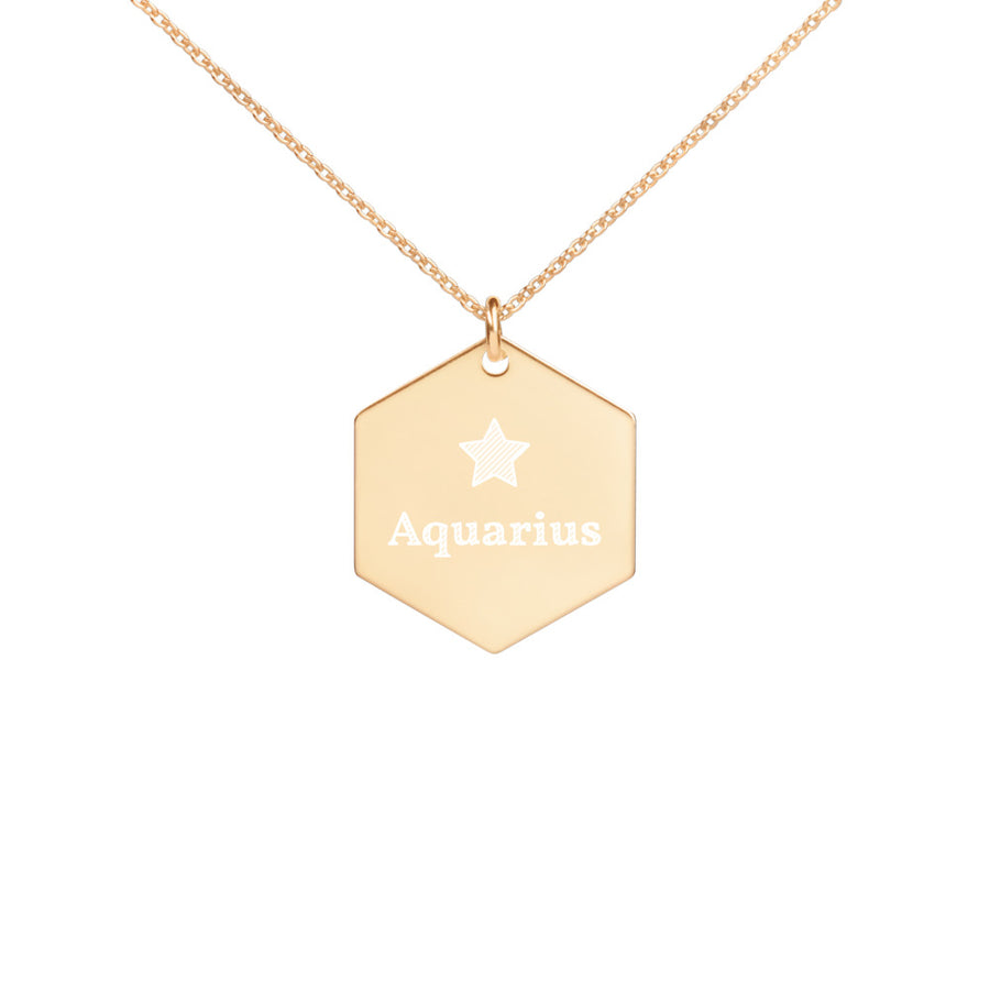 Personalised Star Sign Engraved Silver Hexagon Necklace